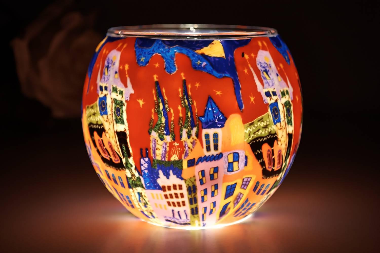 Leuchtglas 21643 Sunset in the City 11cm Kerzenhalter Teelichthalter Windlicht Kerzenfarm - 2