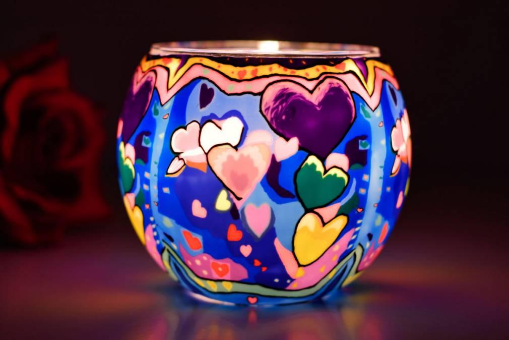 Leuchtglas 21301 Friendship Freundschaft 11cm Kerzenhalter Teelichthalter Windlicht Kerzenfarm - 2