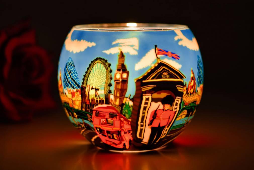 Leuchtglas 21649 London Life 11cm Kerzenhalter Teelichthalter Windlicht Kerzenfarm - 2