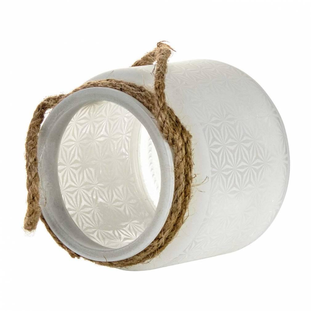 Glaswindlicht mit Kordel, Laterne weiss für Teelicht, Stumpenkerze - 2