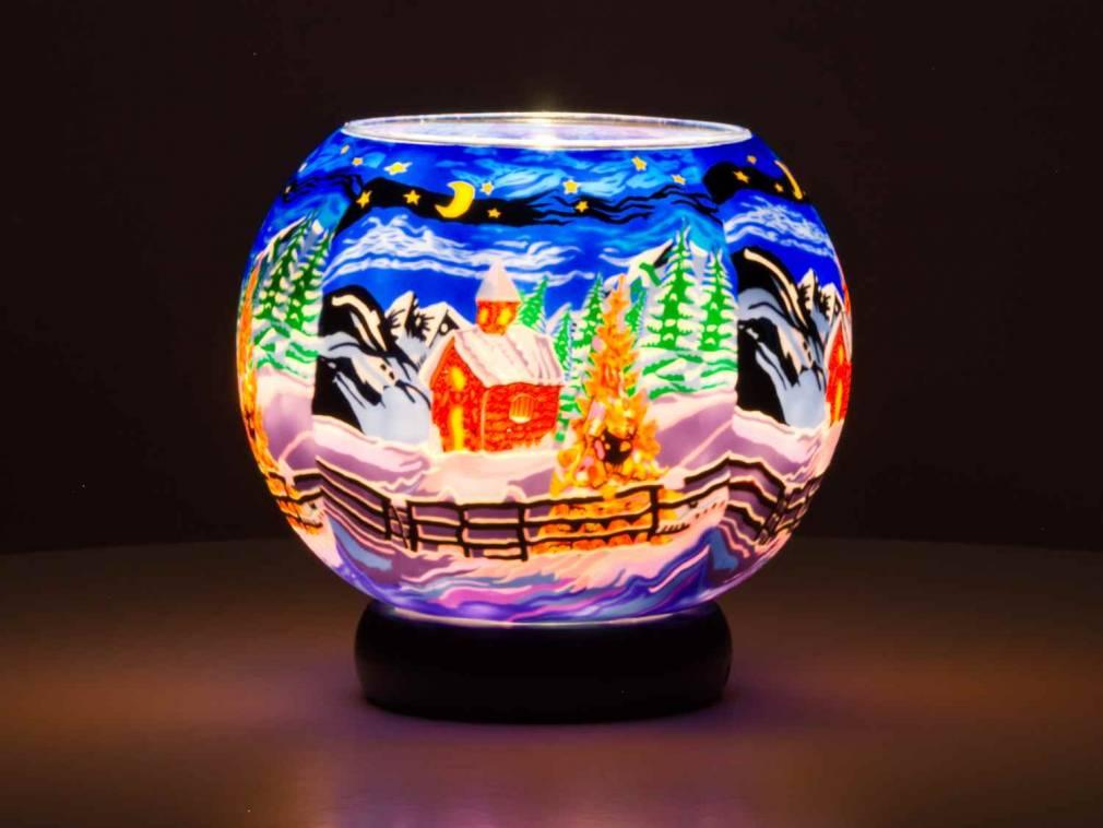 Leuchtglas Lampe 829 Silence Ø15cm Dekoration Teelicht Windlicht Kerzenfarm Kerze - 2