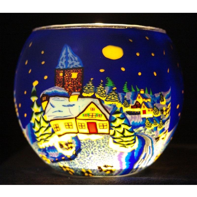 Leuchtglas ohne wachs 11cm dekoration - Winterlandschaft dekoration ...