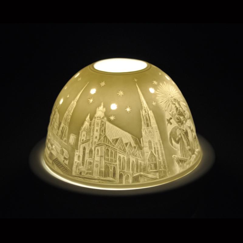 Starlight Nr.233 - Hellmann Teelicht Porzellan-Windlicht Motiv Porzellan Stephansdom Wien - 2