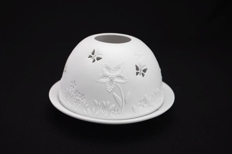 Starlight Nr.114 - Hellmann Porzellanteelicht Windlicht Teelichthalter Schmetterlinge - 2