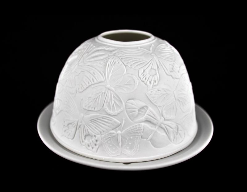 Starlight 90 Schmetterlinge Hellmann Teelicht Windlicht Windlichthalter Bisquitporzellan - 2