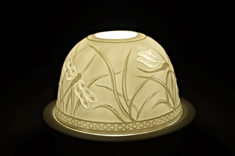 Starlight Nr.84 - Hellmann Porzellan Teelicht Windlichthalter Bisquitporzellan Deko Libelle - 2