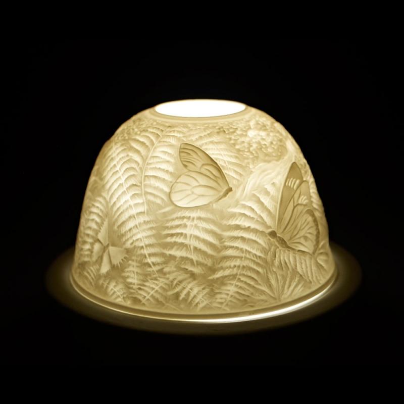 Starlight 75 Schmetterlinge Teelicht Windlicht Bisquitporzellan Hellmann Dekoration - 2
