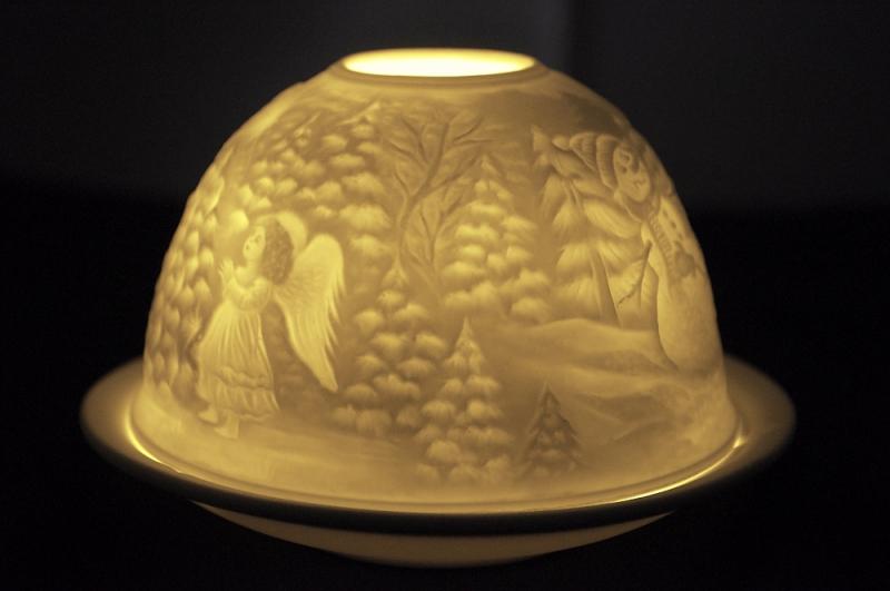 Starlight Nr.45 - Bisquitporzellan Teelicht Windlicht Porzellanteelicht Hellmann Schneemänner - 2