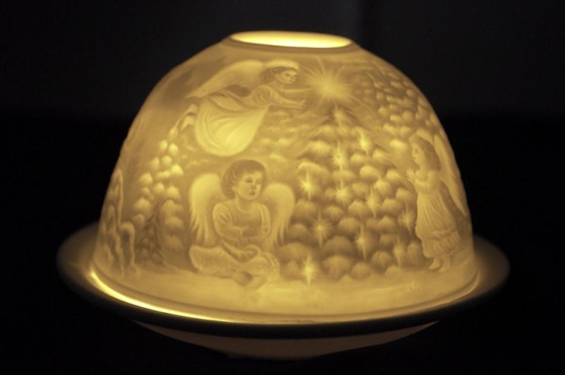 Starlight Nr.45 - Bisquitporzellan Teelicht Windlicht Porzellanteelicht Hellmann Schneemänner - 3
