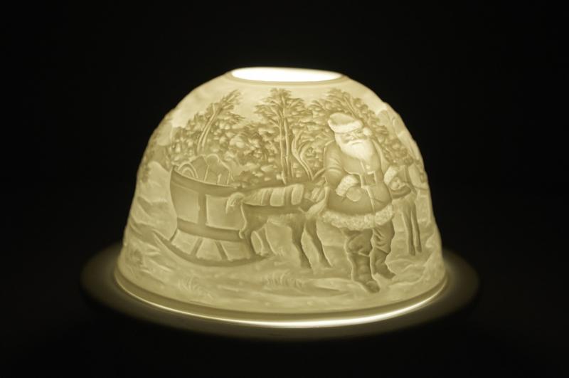 Starlight 40 Weihnachtsmann Geschenke Hellmann Porzellan-Windlicht Teelichthalter - 3