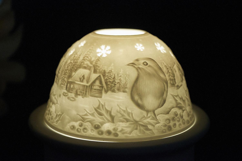 Starlight Nr.269 - Teelicht Windlicht Dekoration Porzellanteelicht Bisquitporzellan Vogel - 2