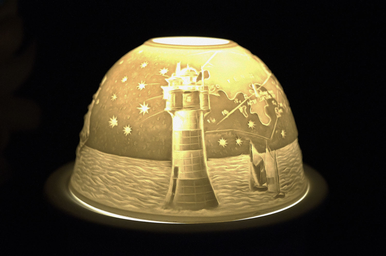 Starlight Nr.158 - Teelicht Windlicht Porzellanteelicht Bisquitporzellan Maritimes Motiv - 2