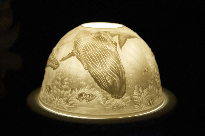 Starlight Nr.268 - Teelicht Windlicht Dekoration Porzellanteelicht Bisquitporzellan Wal - 2
