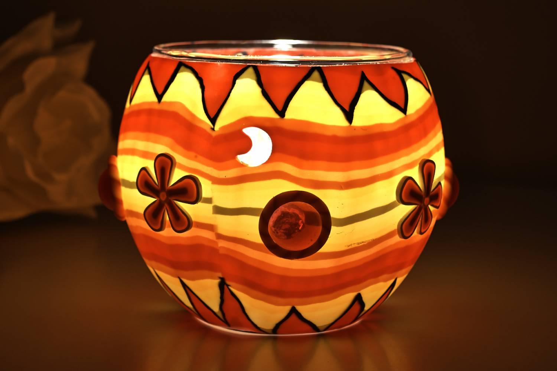 Leuchtglas 21402 orange Flower Ø11cm Dekoration Teelicht Windlicht Kerzenfarm Kerze - 2