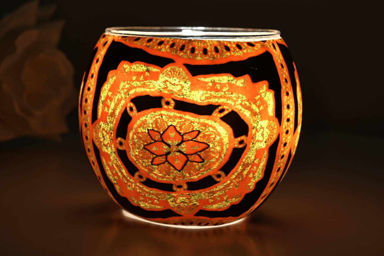 Leuchtglas 21404 Lotus Ø11cm Dekoration Teelicht Windlichthalter Kerzenfarm Kerze - 2