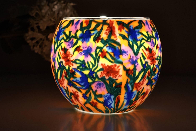 Leuchtglas 21413 Summer Flowers Ø11cm Dekoration Teelicht Windlicht Kerzenfarm Kerze - 2