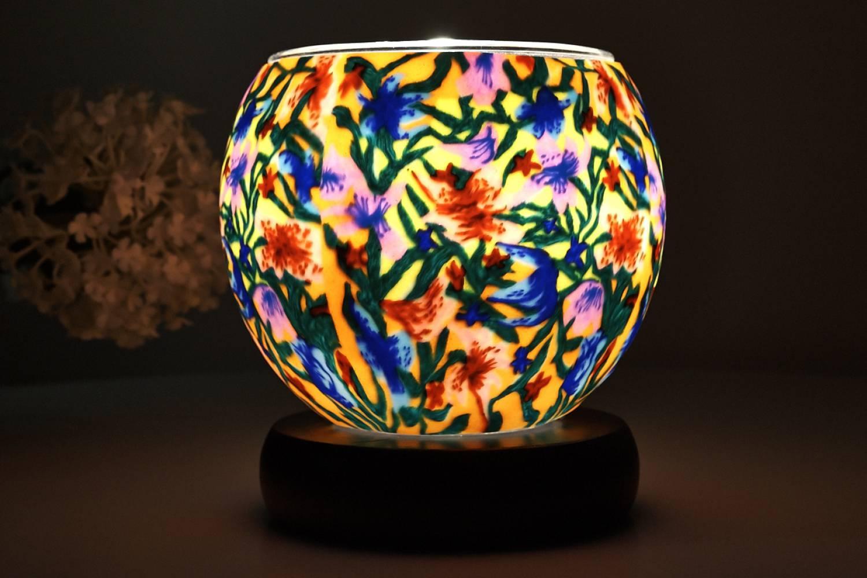 Leuchtglas als Lampe 413 Summer Flowers Ø11cm Dekoration Teelicht Windlicht Kerzenfarm Kerze - 2