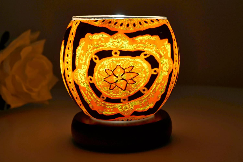 Kerzenfarm Leuchtglas als Lampe 21404 Lotus, Ø11cm Dekoration Teelicht Windlicht Kerze - 2