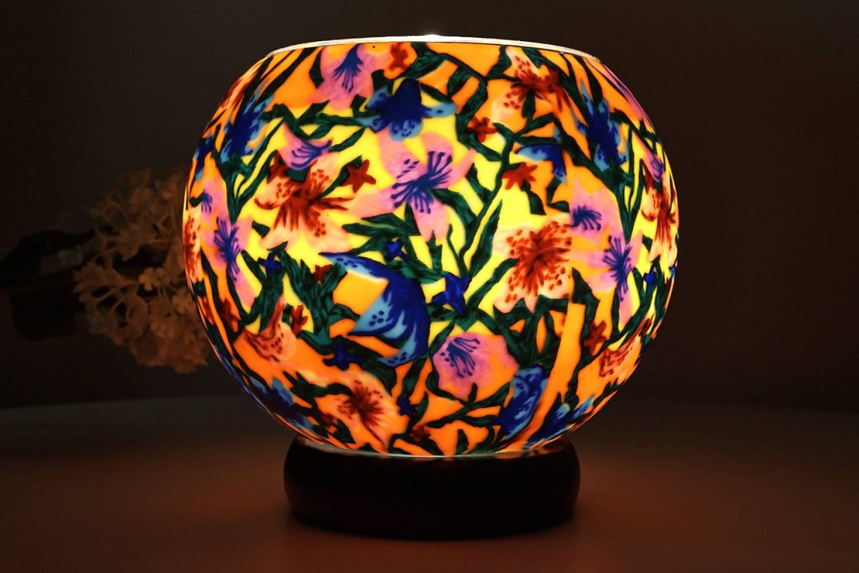 Leuchtglas als Lampe 413 Summer Flowers Ø15cm Dekoration Teelicht Windlicht Kerzenfarm Kerze - 2