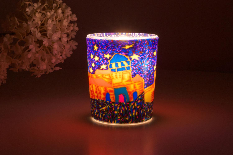 Leuchtglas für Teelicht 308 Spanish Town Ø5,8cm Deko Teelichtleuchte Windlichthalter Lampe - 2