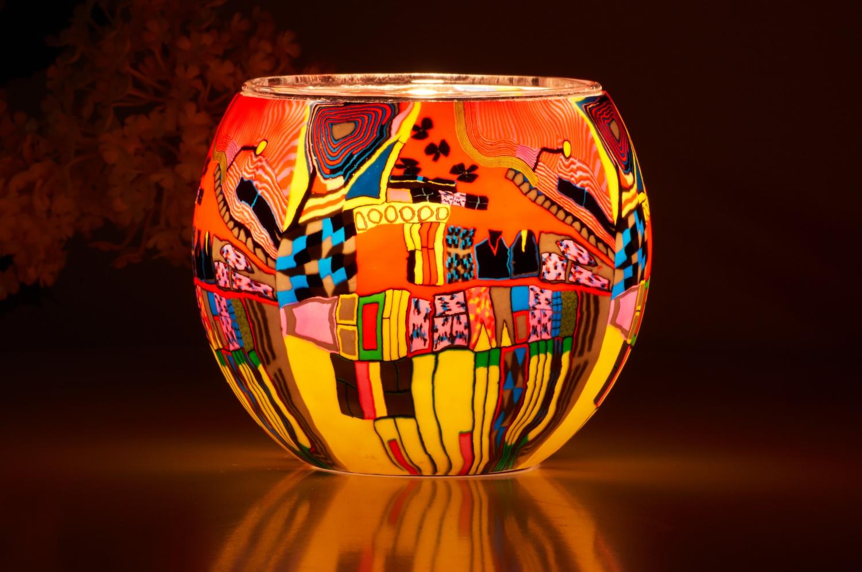 Leuchtglas 21606 Modern Art Red Ø11cm Dekoration Teelicht Windlicht Kerzenfarm Kerze - 2