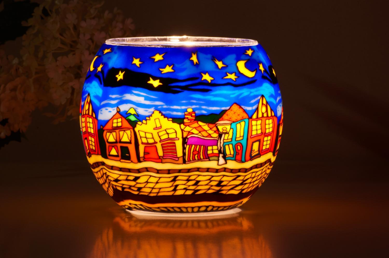 Leuchtglas 21630 Street by Night Ø11cm Dekoration Teelicht Windlicht Kerzenfarm Kerze - 2