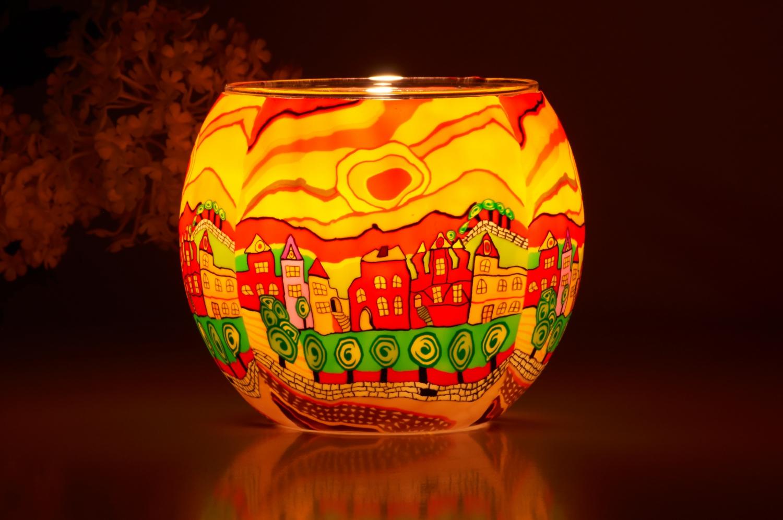 Leuchtglas 21631 Sunny Afternoon Ø11cm Dekoration Teelicht Windlicht Kerzenfarm Kerze - 2