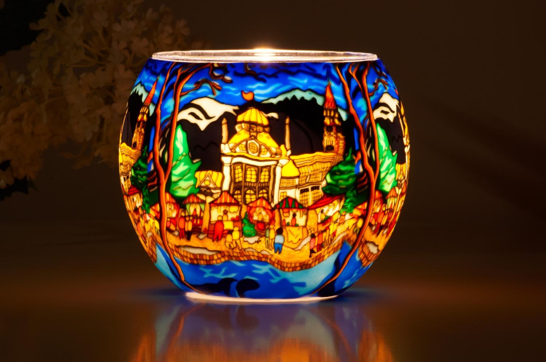 Leuchtglas 21632 Meran Ø11cm Dekoration Teelicht Windlicht Kerzenfarm Kerze - 2