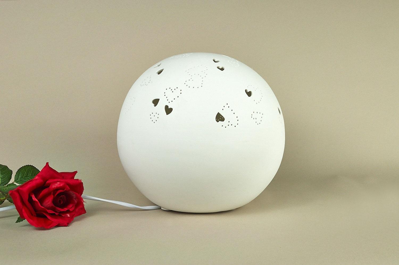 Tischlampe, Tischleuchte, Porzellan, Deko, Licht, Durchbrüche, Herz, rund, Ø25,5cm - 2