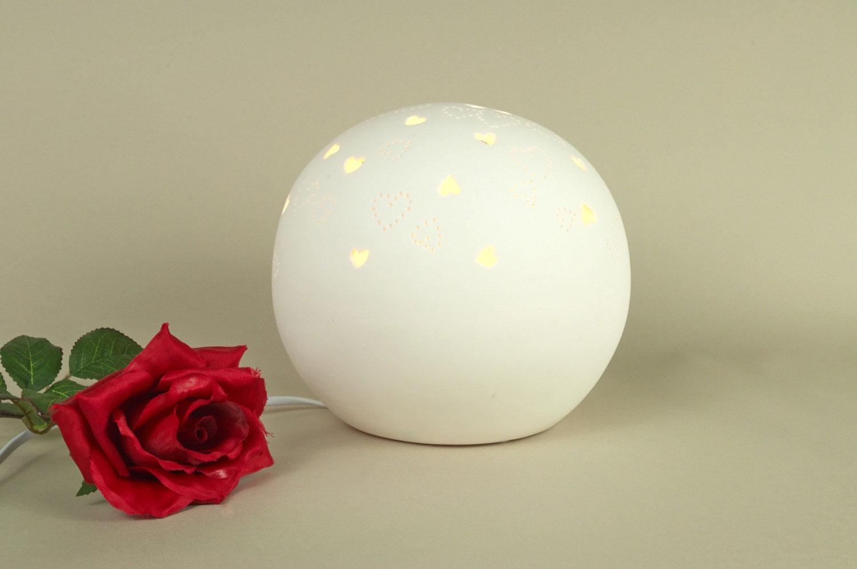 Tischlampe Tischleuchte Porzellan Deko Licht Durchbruche Herz