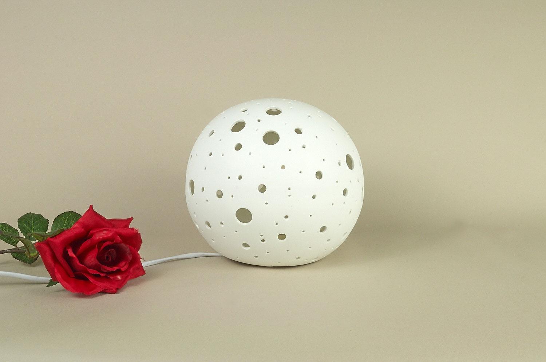 Tischlampe, Tischleuchte, Porzellan, Dekoration, Licht, Durchbrüche rund, Ø21cm - 2