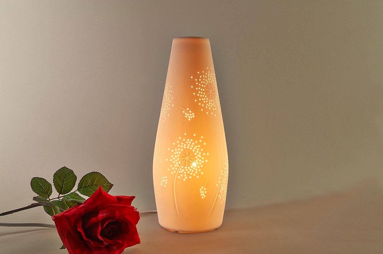 tischlampe tischleuchte porzellan deko licht durchbr che kegelform 12 5cm leuchtglas. Black Bedroom Furniture Sets. Home Design Ideas