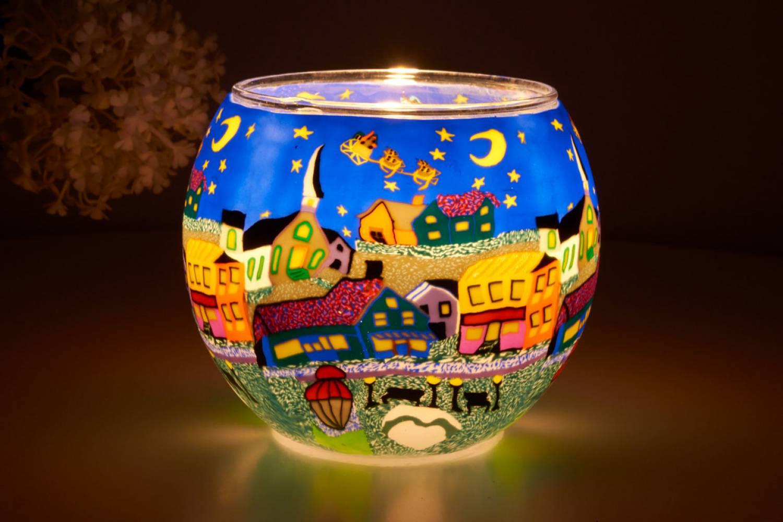 Leuchtglas 21808 Heilige Nacht Ø11cm Dekoration Teelicht Windlicht Kerzenfarm Kerze - 2