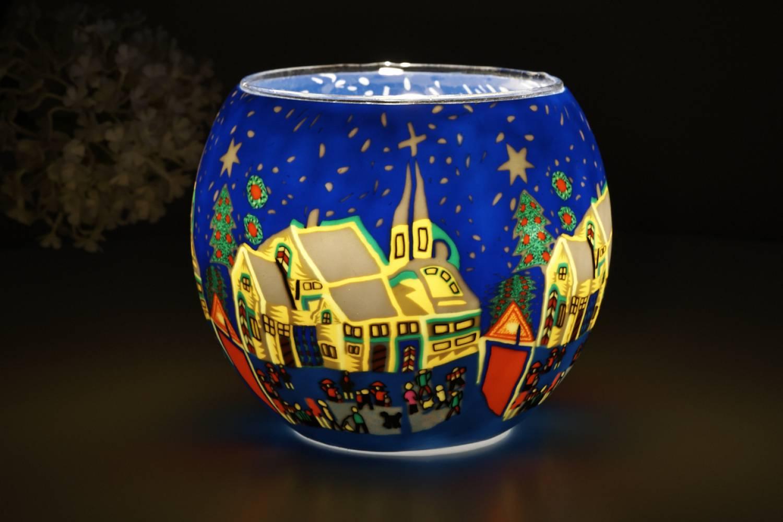 Leuchtglas 21811 Snowy Village Ø11cm Dekoration Teelicht Windlicht Kerzenfarm Kerze - 2