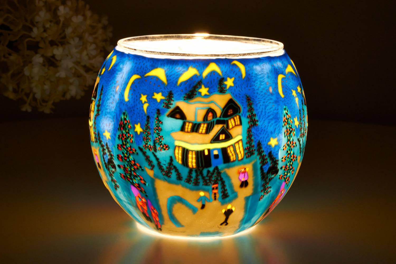 Leuchtglas 21814 Winter Ø11cm Dekoration Teelicht Windlicht Kerzenfarm Kerze - 2