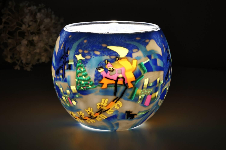 Leuchtglas 21815 Schlittenfahrt Ø11cm Dekoration Teelicht Windlicht Kerzenfarm Kerze - 2