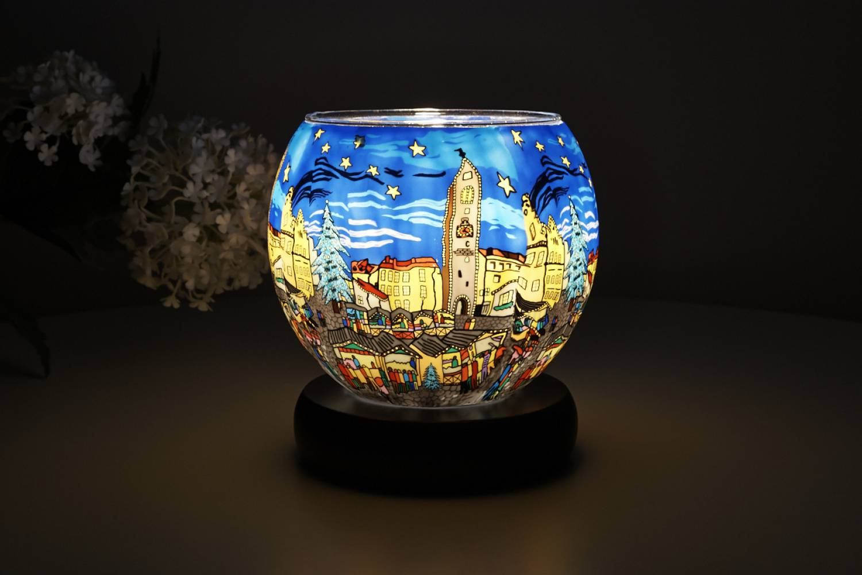 Leuchtglas Lampe 804 Christmas Market Ø11cm DekoLeuchte Windlicht Kerzenfarm - 2