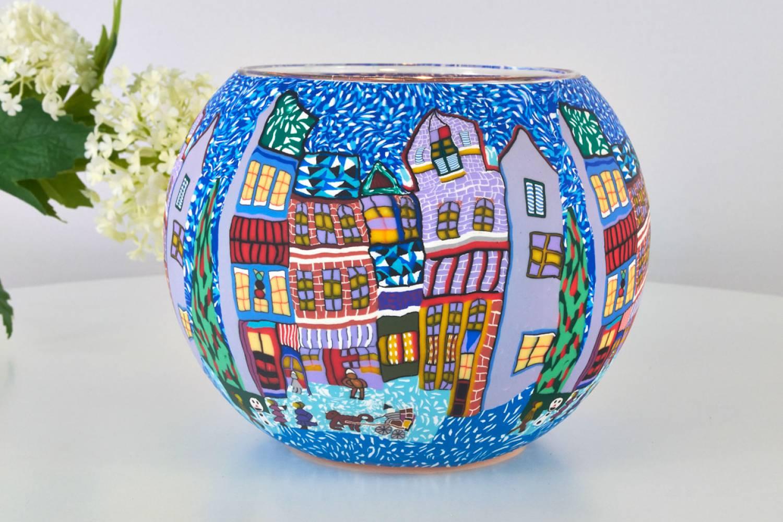 Leuchtglas 809 winterliche stadt 15cm dekoration teelicht windlicht kerzenfarm kerze leuchtglas - Winterliche dekoration ...
