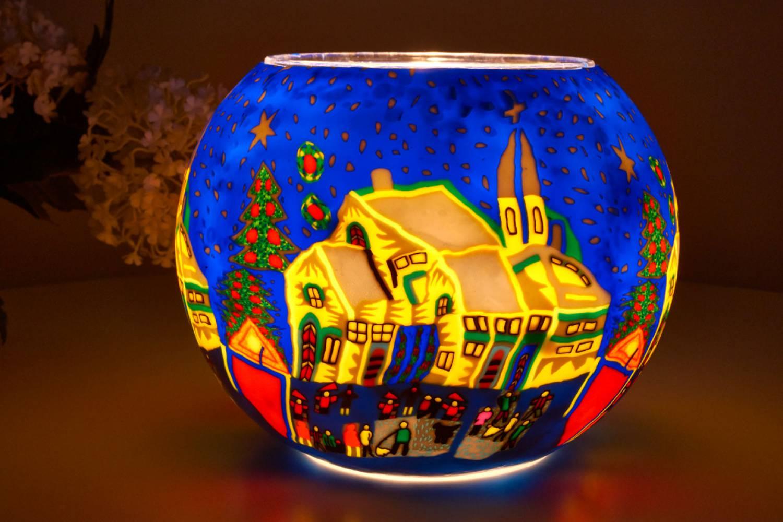 Leuchtglas 811 Snowy Village Ø15cm Dekoration Teelicht Windlicht Kerzenfarm Kerze - 2