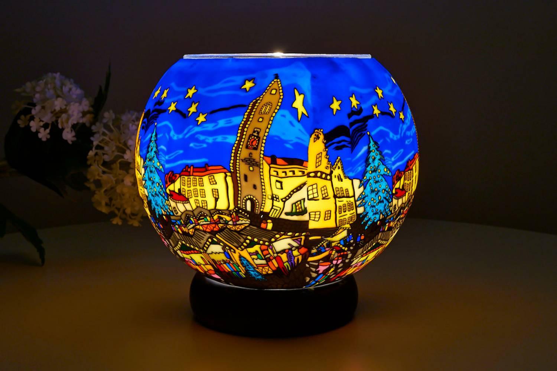 Leuchtglas Lampe 804 Christmas Market Ø15cm Dekoration Teelicht Windlicht Kerzenfarm Kerze - 2