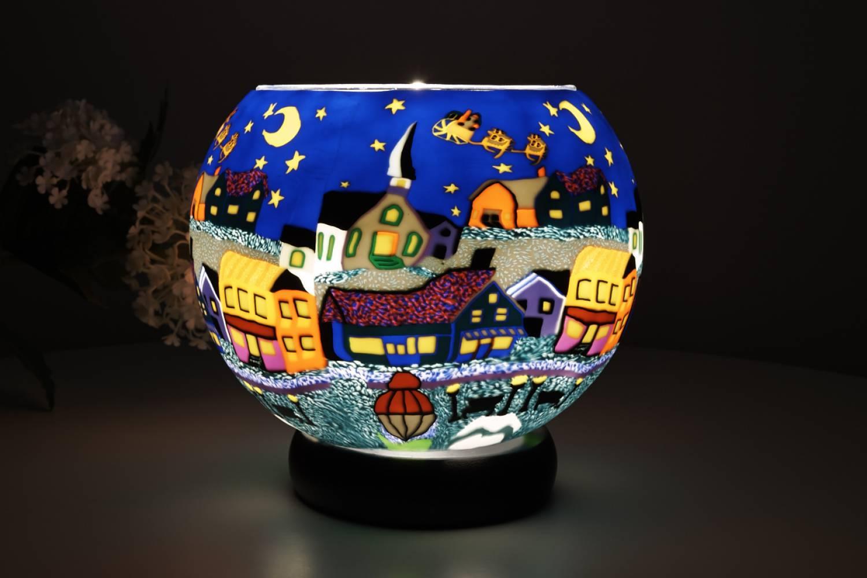 Leuchtglas Lampe 808 Heilige Nacht Ø15cm Dekoration Teelicht Windlicht Kerzenfarm Kerze - 2