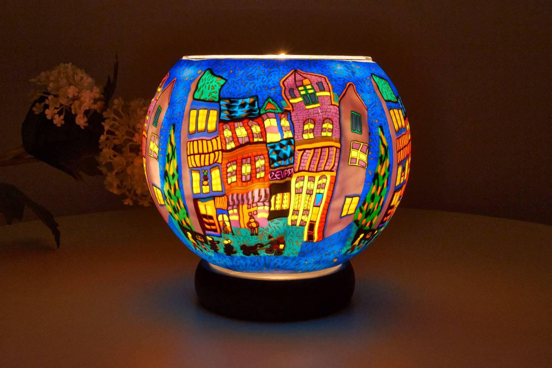 Leuchtglas Lampe 809 Winterliche Stadt Ø15cm Dekoration Teelicht Windlicht Kerzenfarm Kerze - 2
