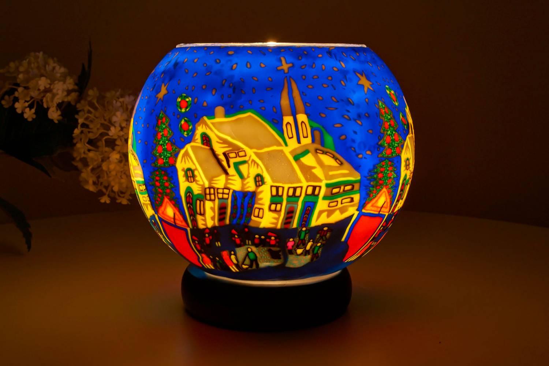 Leuchtglas Lampe 811 verschneites Dorf Ø15cm Dekoration Teelicht Windlicht Kerzenfarm Kerze - 2