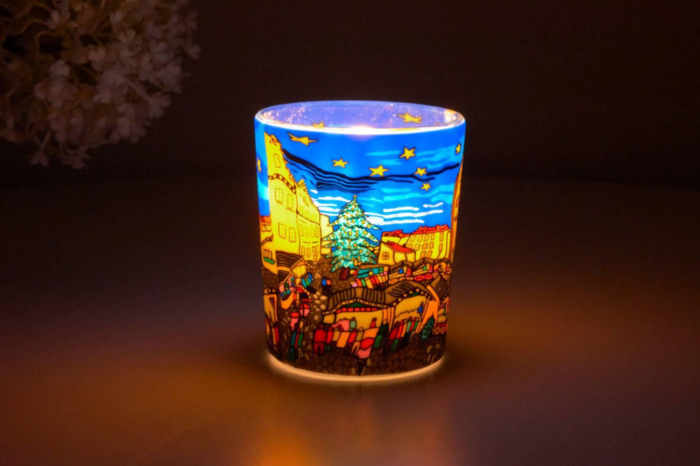 Leuchtglas für Teelicht 804 Christmas Market Ø5,8cm Teelichtleuchte Windlichthalter - 2