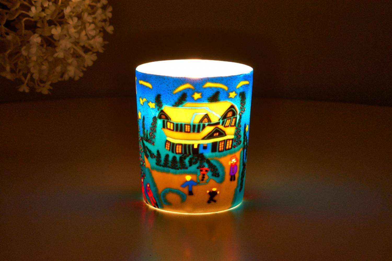 Leuchtglas für Teelicht 814 Winter Ø5,8cm Teelichtleuchte Windlichthalter - 2