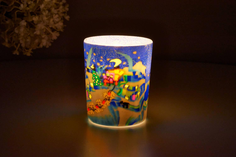 Leuchtglas für Teelicht 815 Schlittenfahrt Ø5,8cm Teelichtleuchte Windlichthalter - 2