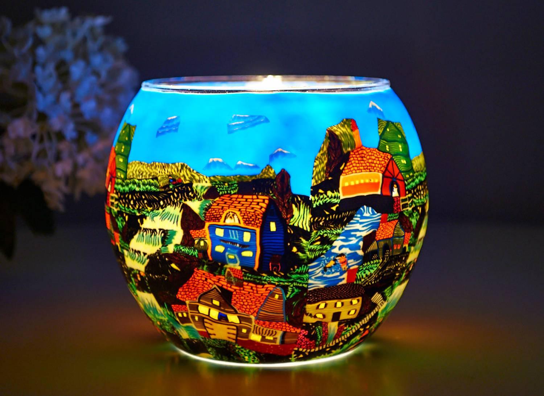 Leuchtglas 21604 American Village Ø11cm Dekoration Teelicht Windlicht Kerzenfarm Kerze - 2