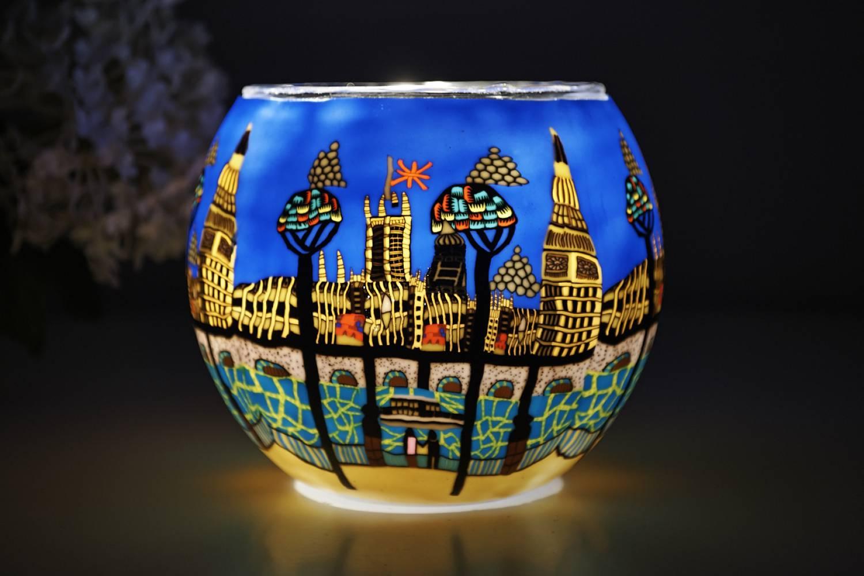 Leuchtglas 21813 London Ø11cm Dekoration Teelicht Windlicht Kerzenfarm Kerze - 2