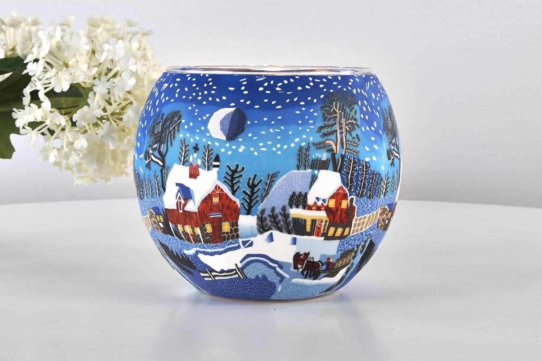 Leuchtglas Teelichtglas SNOWY COTTAGE