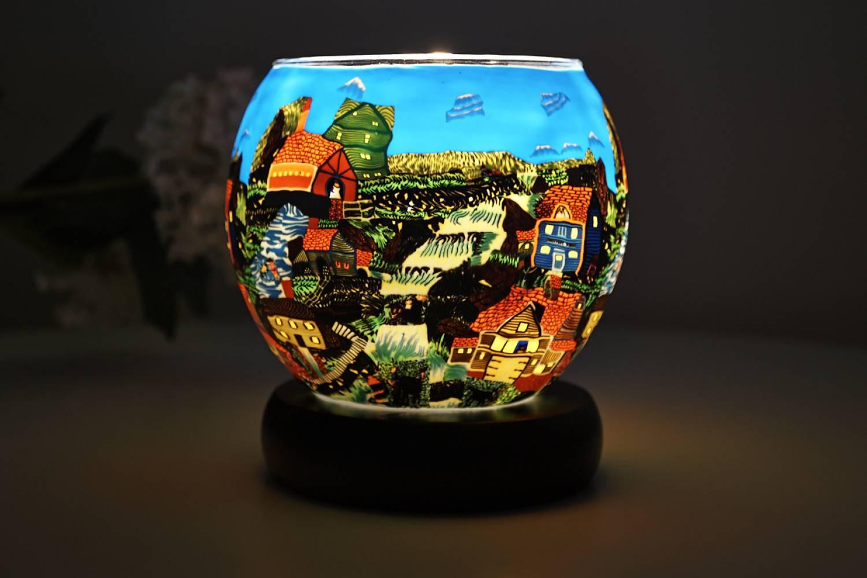 Leuchtglas Lampe 604 American Village Ø11cm Dekoleuchte Windlicht Kerzenfarm - 2